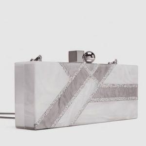 NWT - Zara Pearl Enamel Hard Clutch Bag